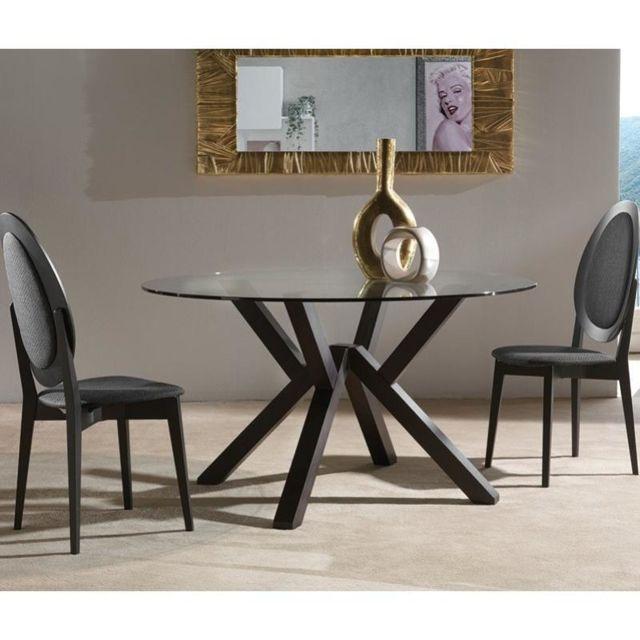Inside 75 Table repas design Teorema wengé plateau en verre