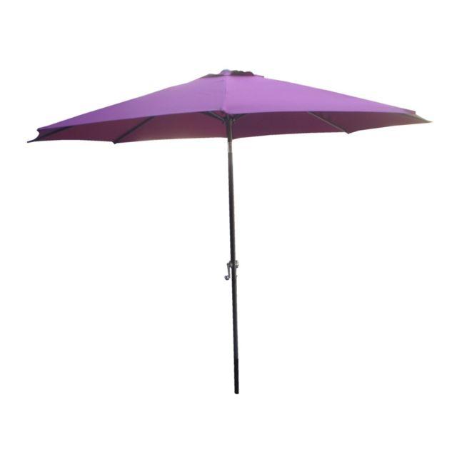 Parasol rond cayenne. dim. ø. 3 m. mât 38 mm en aluminium gris. toile en polyester 180g/m². coloris violet