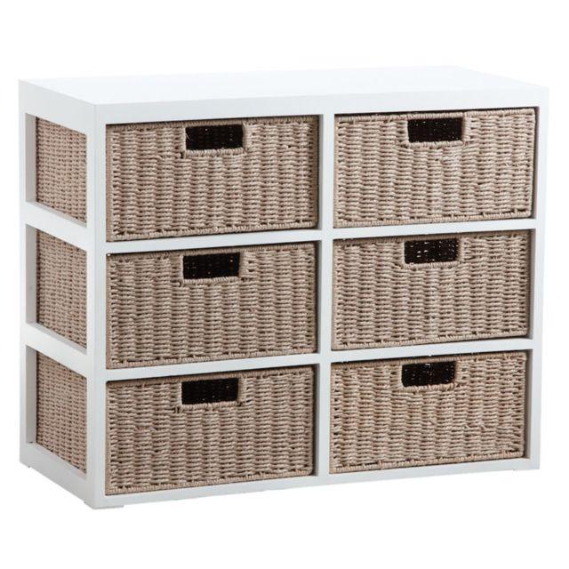 AUBRY GASPARD Commode 6 tiroirs en bois et papier cordé
