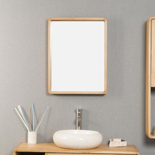 Wanda Collection - Miroir salle de bain en teck Samba 50 X 65 cm ...