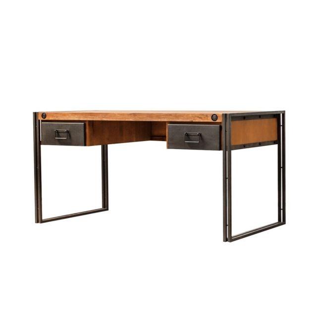 Meubletmoi Bureau Design Acacia Metal 2 Tiroirs Workshop Nc