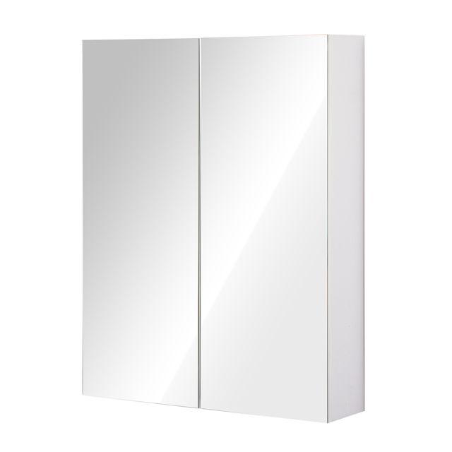 Homcom Armoire Avec Miroir En Bois Rangement Salle De Bain