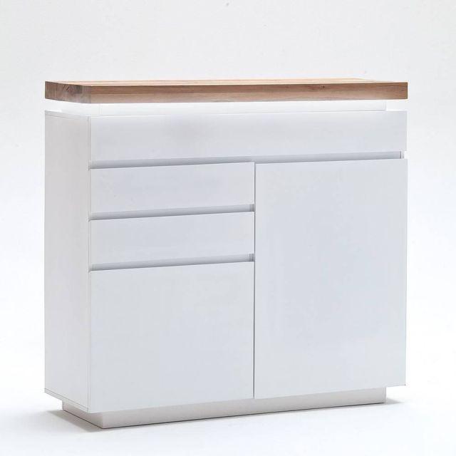Inside 75 Buffet haut Romina 2 portes 3 tiroirs laqué blanc mat plateau chêne noueux huilé