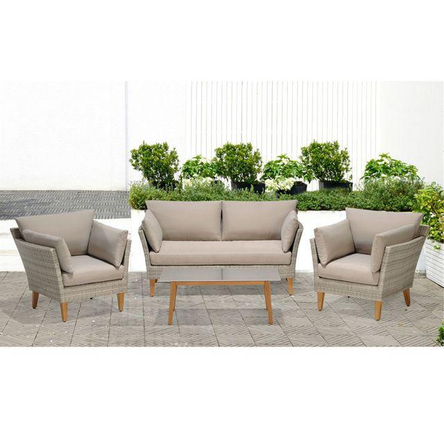 Alinéa - Canberra Salon de jardin finition rotin tressé gris clair 4 ...