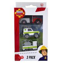 Dickie Toys - Set de 3 véhicules de secours Sam le pompier : Camion, voiture et remorque