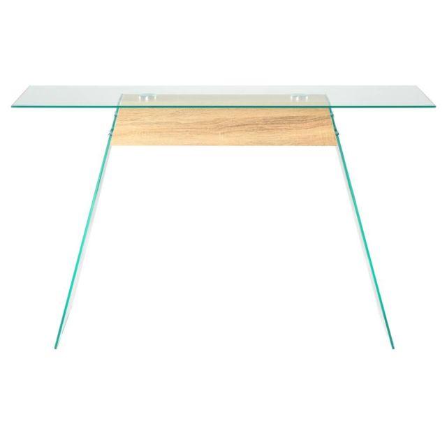 GÉNÉRIQUE Icaverne - Bouts de canapé famille Table Console MDF et verre 120 x 30 x 76 cm Couleur de chêne