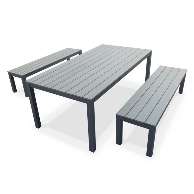 Alice\'s Garden - Salon de jardin Antibes table 200cm 8 places Gris ...