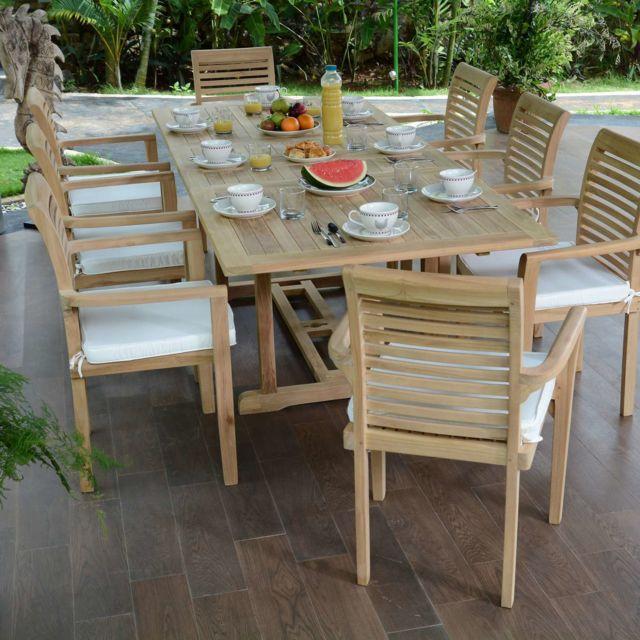 Teck\'ATTITUDE - Salon de jardin en teck Ecograde Kingston, table ...