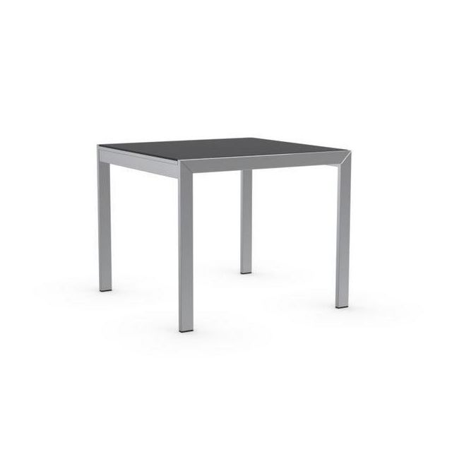 Inside 75 Table repas extensible Key 90x89 plateau verre noire piétement  acier chromé be1ed8c64969