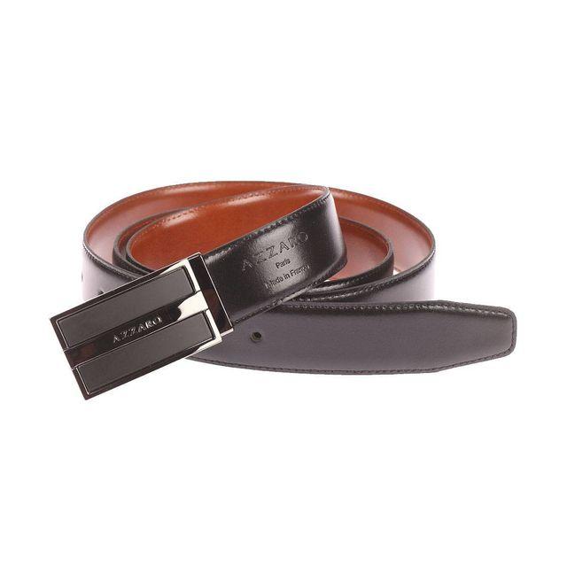 6c40242c6953 Azzaro - Ceinture ajustable en cuir noir réversible marron à boucle pleine  noire et chromée - pas cher Achat   Vente Ceinture homme - RueDuCommerce