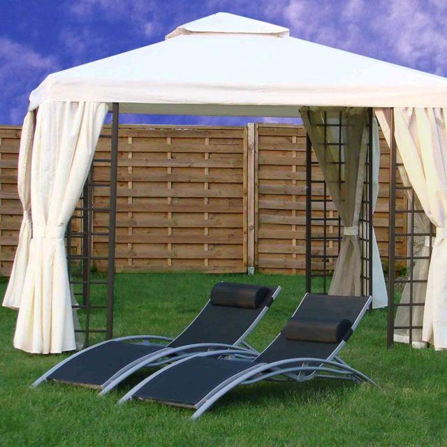 Dcb Garden Tonnelle Aluminium 3 X 3 M Ecru Avec Rideaux Et