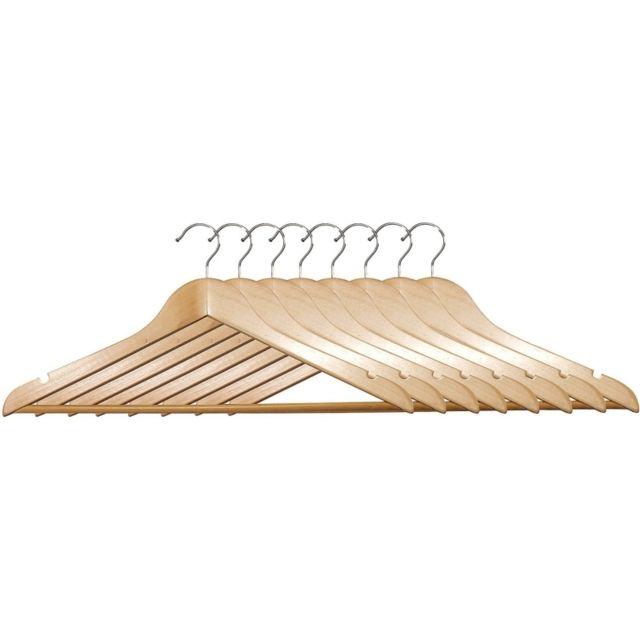 cintres en bois avec encoches lot de 8 pas cher achat vente cintre rueducommerce. Black Bedroom Furniture Sets. Home Design Ideas