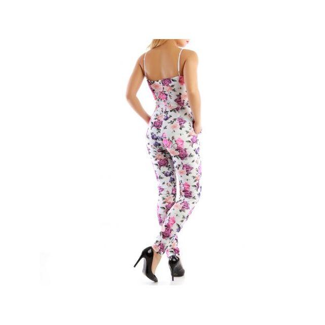 a322f0ba813 La Modeuse - Combinaison pantalon imprimé floral blanc - pas cher ...