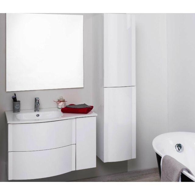 Aqua + - Colonne salle de bain blanc à suspendre Long. 150cm - Rony ...