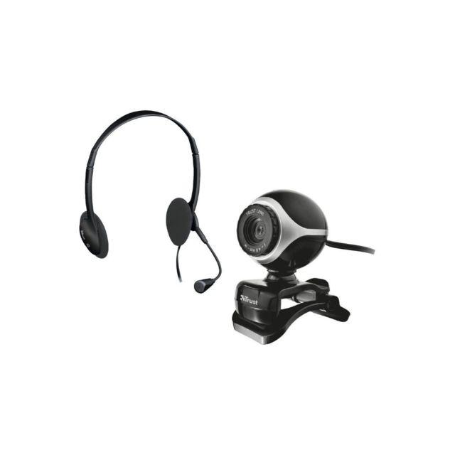 Trust Pack webcam + casque micro 17028 Contenu du carton : Webcam, Casque micro Couleur : Noir Divers : Webcam avec fixation réglable automatiquement, Webcam 640 x 480 Type : Pack webcam + casque micro