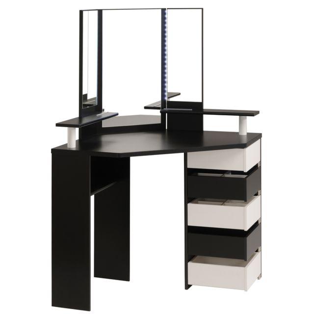 last meubles coiffeuse beauty noir 1135cm x 61cm x 142cm