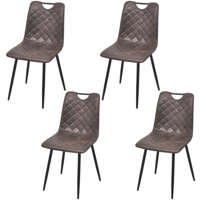 Sans Marque Chaises 4 pcs en cuir artificiel Marron foncé