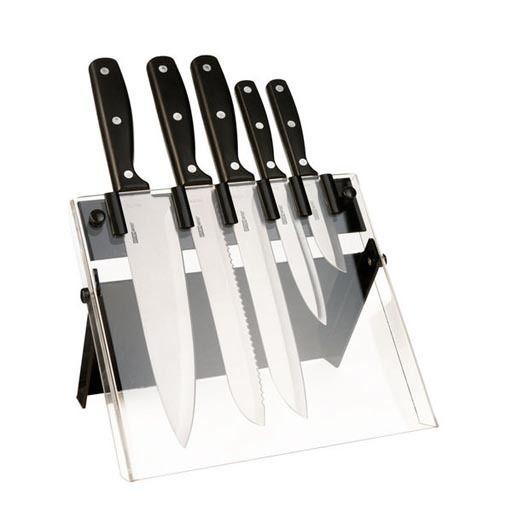 Kitchen Artist Bloc de 5 couteaux de cuisine. Un couteau office lame de 8,5 cm 1,5 mm Un couteau à ciseler lame