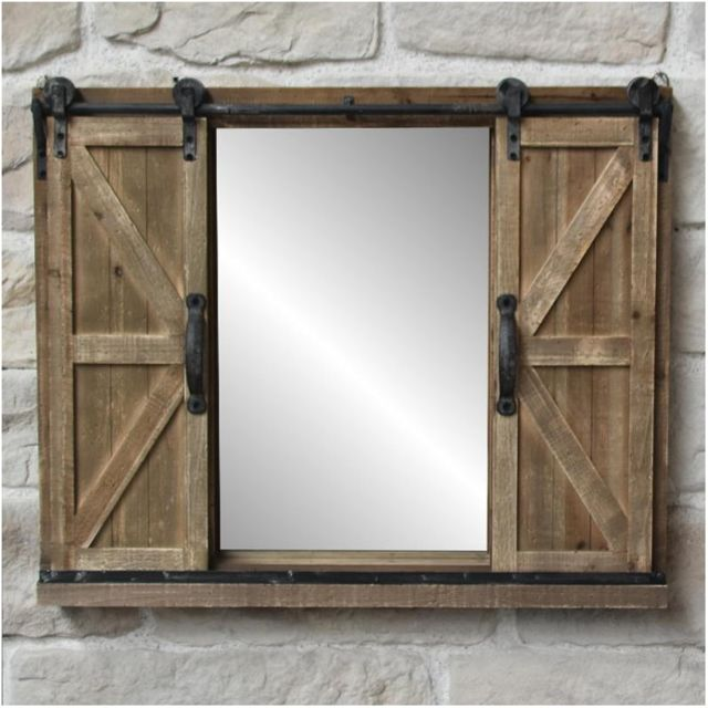 Miroir Industriel Campagne Fenêtre à Volets Coulissants Bois Et Fer 80x65 Cm