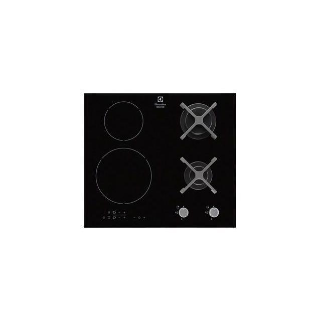 ELECTROLUX table de cuisson mixte induction et gaz 60cm 4 feux 8300w noir - egd6576nok