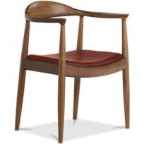 Privatefloor - Chaise design scandinave The Chair - Style Hans J. Wegner - Cuir Premium Chocolat