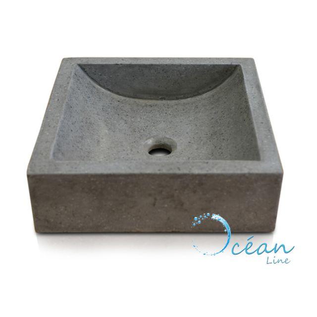 vasque a poser grise 2 Ocean Line - Vasque de salle de bains à poser carrée, Halfmoon Gris béton en
