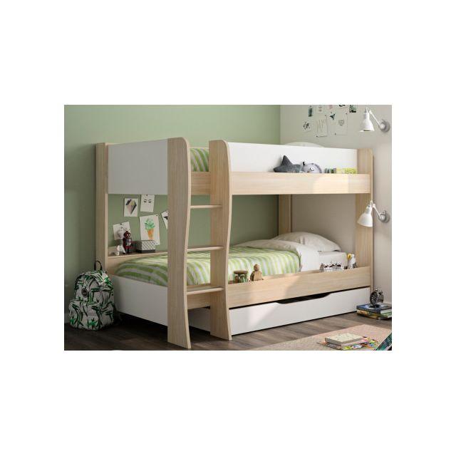 Lits superposés NATHAN - 2x90x200cm - avec tiroir de rangement - Coloris : Chêne & Blanc