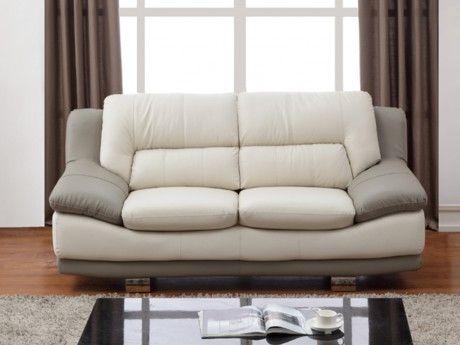 Canapé 2 places en cuir THOMAS - Bicolore ivoire et taupe