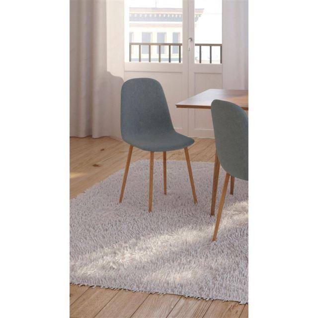 Zoli99 Klary Lot de 6 chaises scandinaves en tissu bleu