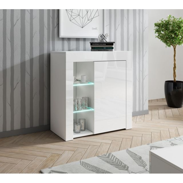 Baltic Meubles Meuble buffet blanc 1 porte et niches - Moinschercuisine