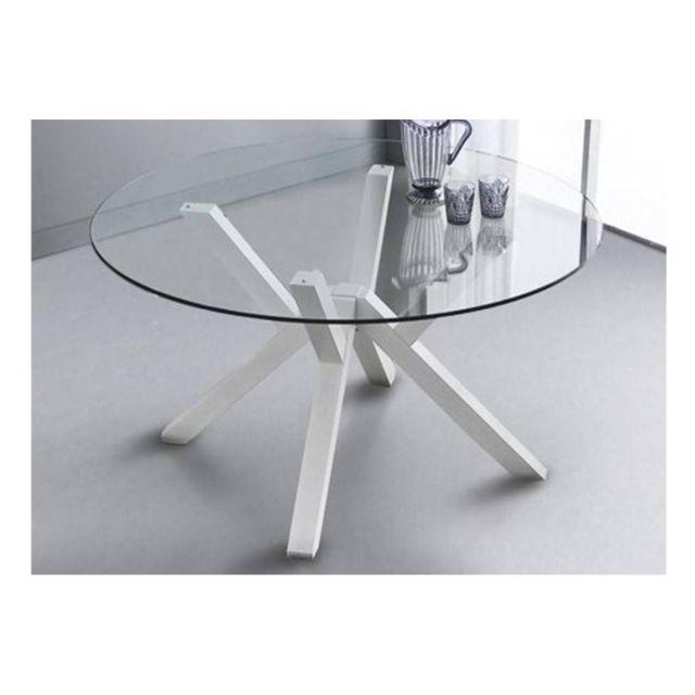 Inside 75 Table repas design Teorema blanche avec plateau en verre