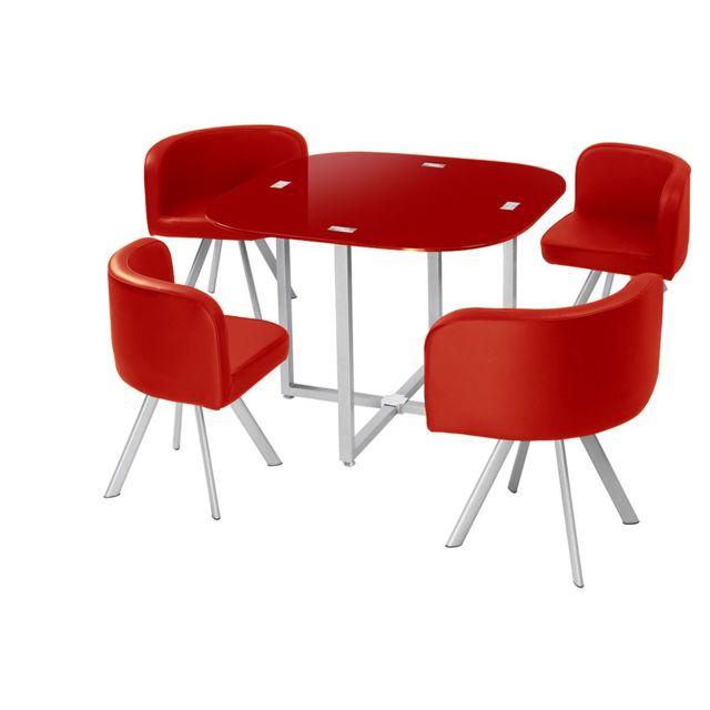 cote cosy table manger corner 90 cm rouge en verre 4 chaises 90cm