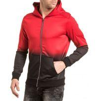 Gov Denim - Veste zippée homme noir et rouge nervuré à capuche