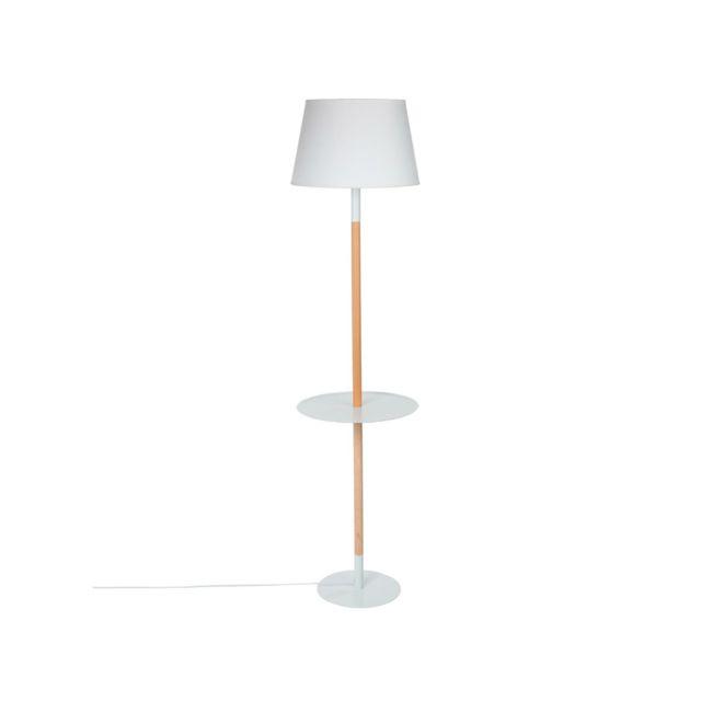 atmosphera lampadaire avec tablette helga blanc. Black Bedroom Furniture Sets. Home Design Ideas
