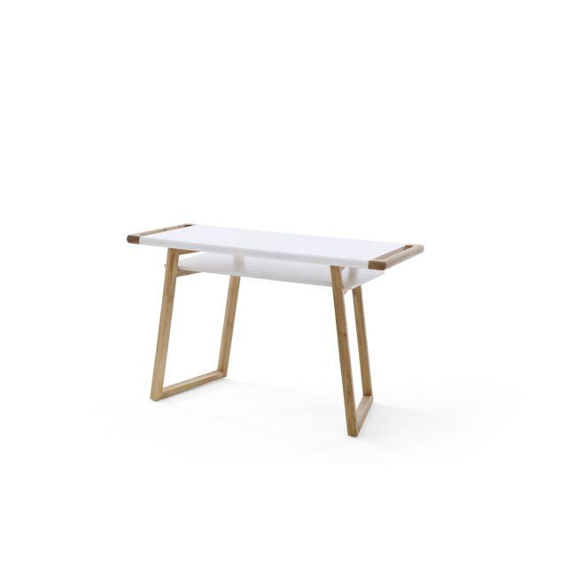 Pegane Bureau laqué blanc mat avec pieds en chêne huilé - L122 x H76 x P53 cm