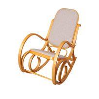 Mendler - Rocking-chair, fauteuil à bascule M41, imitation chêne, tissu beige