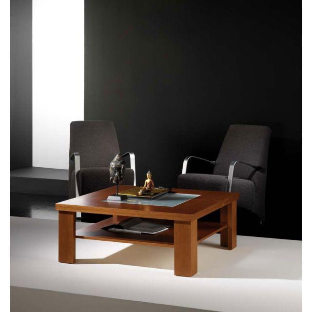 Kasalinea Table basse carrée couleur teck 2 plateaux contemporaine Karen