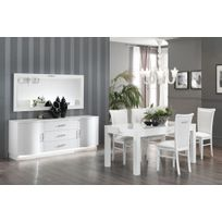 Ensemble salle à manger complète design avec LED coloris blanc laqué