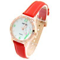 Leina - Montre pour Femme Bracelet Cuir Rouge 595