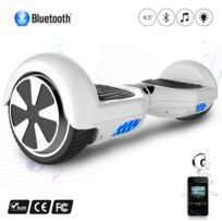 COOL AND FUN - COOL&FUN Hoverboard Batterie certifié CE Bleutooth, gyropode 6,5 pouces Blanc