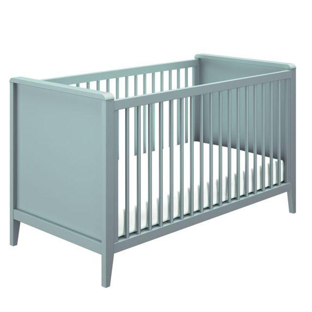 Tousmesmeubles Lit bébé évolutif Bleu - Nours