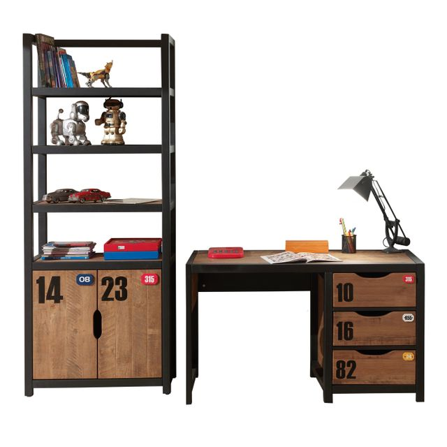 Comforium Ensemble bureau contemporain et bibliothèque en coloris brun et noir