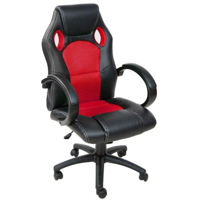 Helloshop26 Fauteuil de bureau chaise siège sport gamer ergonomique confortable noir et rouge 0508008