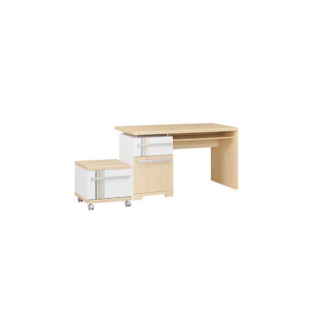 Bureau 1 porte 1 tiroir + caisson naturel et blanc - Evan