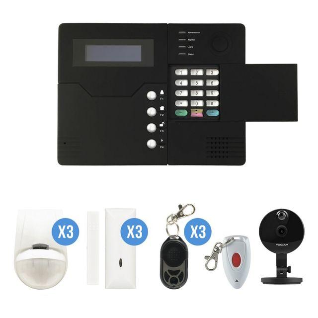 iprotect systeme d 39 alarme gsm sans fil 4 5 pi ces maison avec cam ra ip foscam c1 pas cher. Black Bedroom Furniture Sets. Home Design Ideas