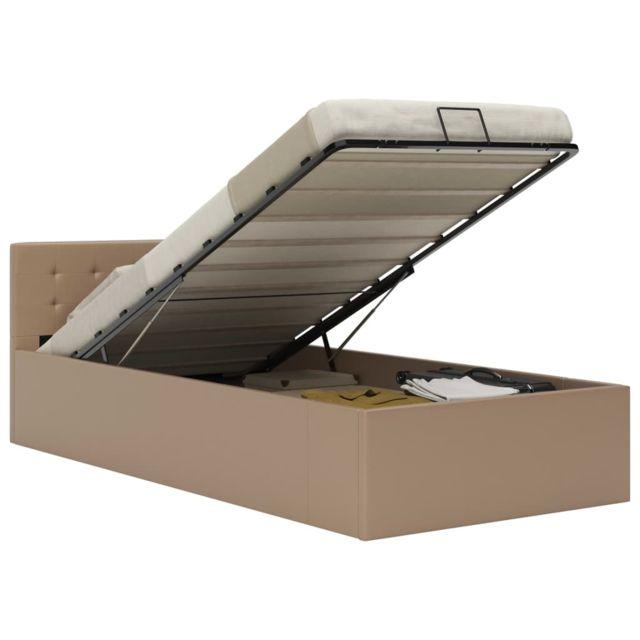 VIDAXL Cadre de lit à rangement Cappuccino Similicuir 90x200 cm