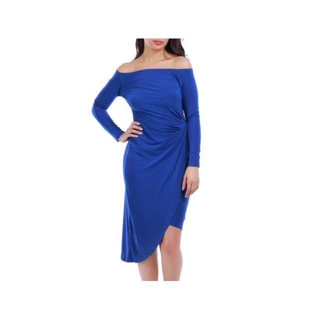 5600853a4c9 La Modeuse - Robe asymétrique col bardot bleu - pas cher Achat ...