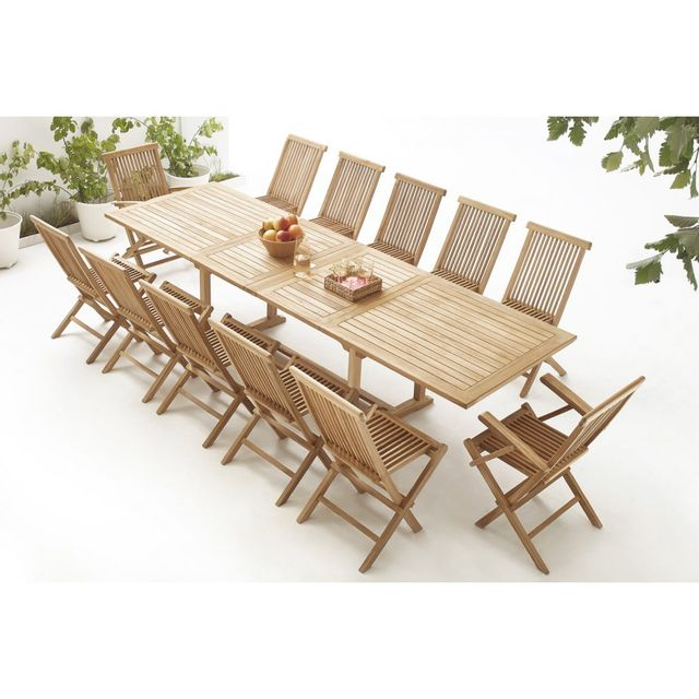 Bobochic Table rectangle 10 chaises + 2 fauteuils Teck Brut Massif
