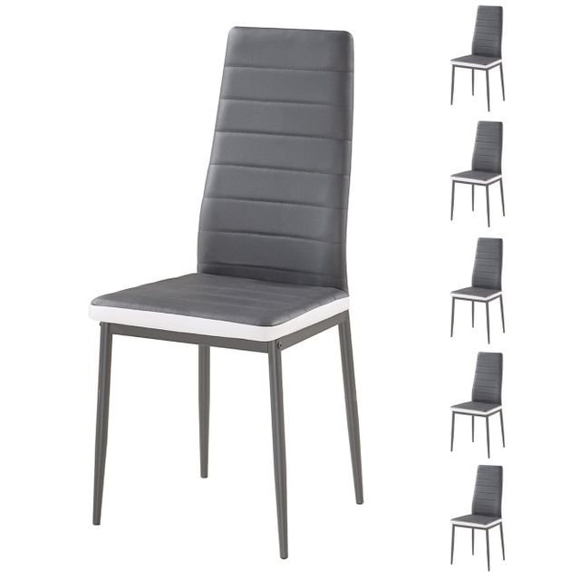 Bestmobilier Sandy Lot de 6 chaises Simili Gris