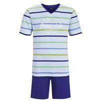 Ringella - Pyjama court : Tee-shirt bleu ciel à rayures floqué et short uni bleu roi